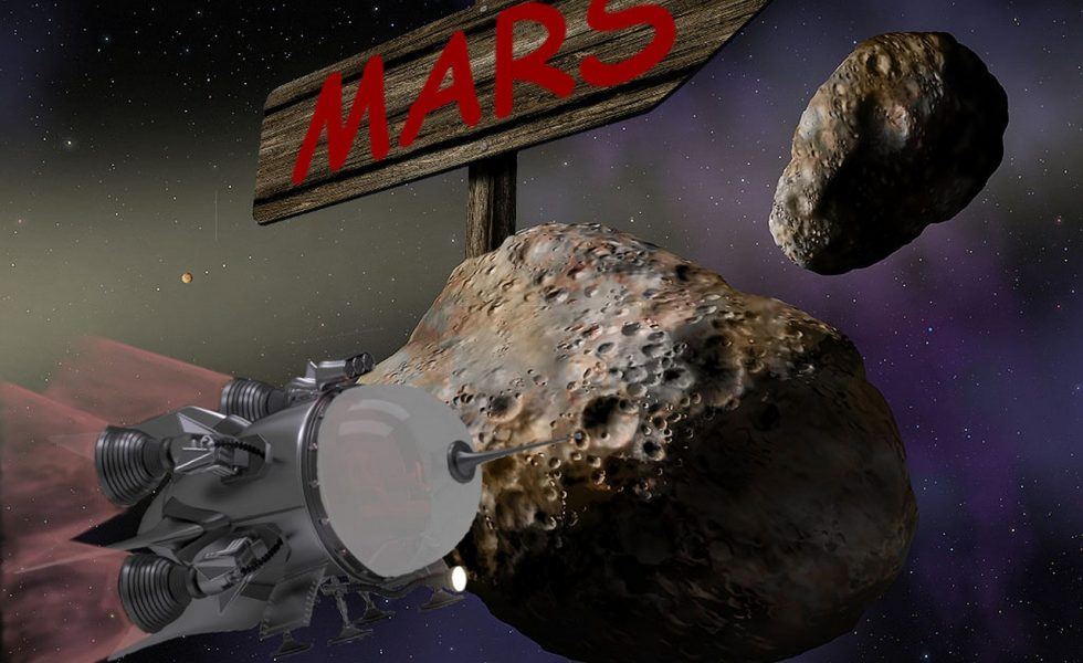 voyage dans l'espace vers mars